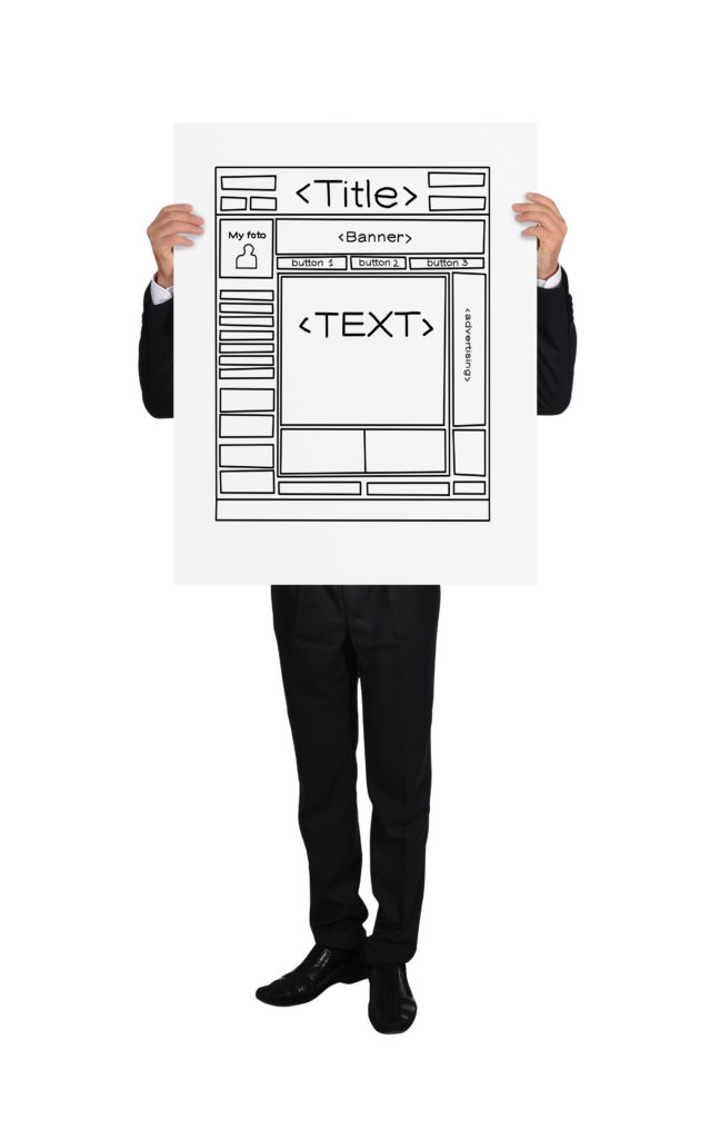 businessman holding a placard with template web page